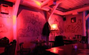 Inside Masoch Café (a café with a sadomasochistic theme).