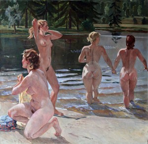 """Bathers"" by Russian painter Alexander Deineka."