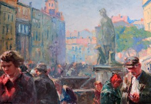 """Fountain at Rynok Square in Lviv"" by Erno Erb."