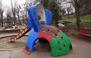 Elephant slide in a children's playground.