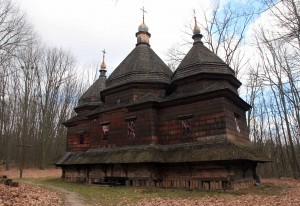 Historic church from the Lviv Region, now located in the Museum of Folk Architecture and Peasant Homes.