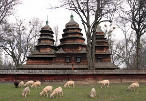 Church from the Boiko Ethnic Region, with sheep grazing in front (there's always got to be one black sheep in every herd).