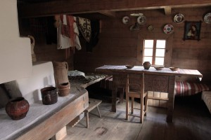 Inside an old home from the Hutsul Ethnic Region.