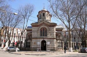 Church at a street corner in Chisinau.