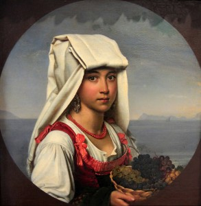 """Girl with fruits"" by Russian painter, Orest Kiprenskii (1831 AD)."