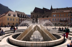 The fountain at Brasov Council Square.