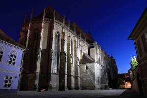 The Black Church at night.