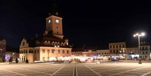 Brasov Council Square at night.