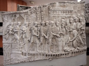 Replica panel (#73) from Trajan's Column depicting Emperor Trajan making a libation during the sacrifice of a bull.