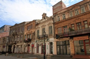 Buildings in the old town of Bucharest.