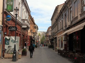 Street in the old town of Bucharest.