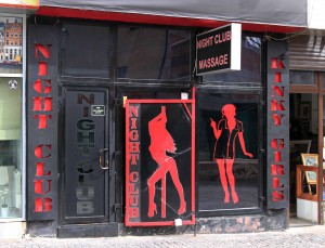 One of the many night clubs in Bucharest that offer erotic massages - it feels like I'm in Thailand again.