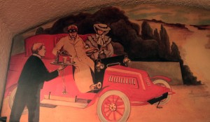 Painting inside Caru' cu bere!, which depicts the good old days when drinking and driving was a classy pastime.