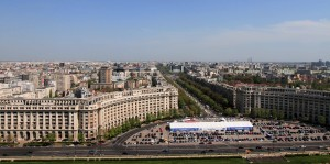 """Looking east at Bulevardul Unirii (""""Unification Boulevard"""") from one of the rooftop terraces on the Palace of Parliament."""