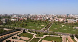 Looking north from the Palace of Parliament at Izvor Park.