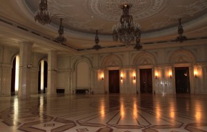One of the center rooms inside the Palace of Parliament (marked by the central circle).