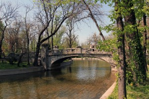 Bridge over  the pond in Cișmigiu Gardens.