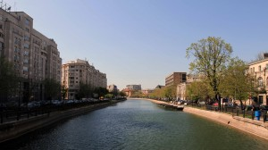 The Dâmbovița River running through Bucharest.