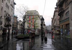 Kneza Mihaila (the pedestrian street) in the rain.