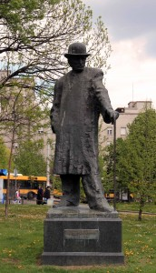 Statue of Branislav Nušić (a Serbian novelist, playwright, satirist, essayist, and founder of modern rhetoric in Serbia).