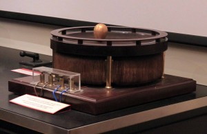 """Tesla's Egg of Columbus"" - an induction motor with a copper egg, designed to stand on its top when the motor is activated."