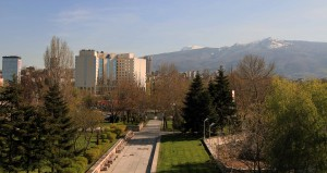 Vitosha Mountain seen from the National Palace of Culture Park.