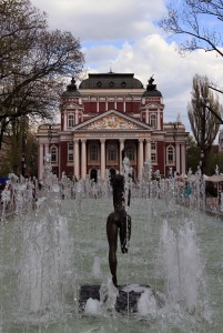 Fountain in front of Ivan Vazov National Theater.
