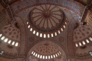 Looking up at the ceiling of the Blue Mosque.