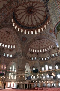 The interior of the Blue Mosque.