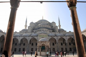 The Blue Mosque, seen from its courtyard.