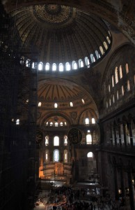 View from the second level inside Hagia Sophia.