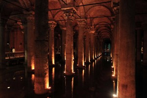 Inside the Basilica Cistern (the largest of several hundred ancient cisterns that lie beneath the city of Istanbul), which was built in the 6th-century AD during the reign of Byzantine Emperor Justinian I.