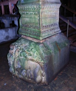 One of two Medusa-head column bases found inside the cistern.