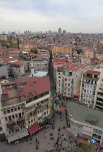 Looking down at a street from Galata Tower.