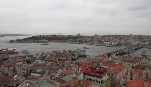 Looking across the Golden Horn at Hagia Sophia and the Blue Mosque in Istanbul.