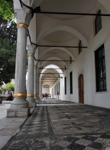 Colonnade and walkway in Topkapi Palace.