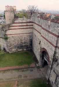 Looking down at Edirne's border gate on the Theodosian Walls.