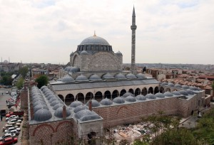 Mihrimah Sultan Mosque, under reconstruction after the 1999 earthquake.