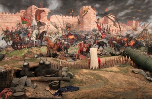 Diorama depicting the Ottomans conquering Constantinople.