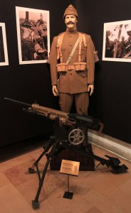 A 1907 Model French machine gun and an Ottoman uniform, similar to those used during the Gallipoli Campaign in World War I.