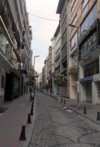 A deserted street on May 1st in Istanbul.