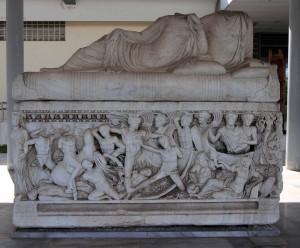 Sarcophagus from the 3rd-century AD, depicting a battle between the Greeks and Trojans (outside the entrance to the Archaeological Museum of Thessaloniki).