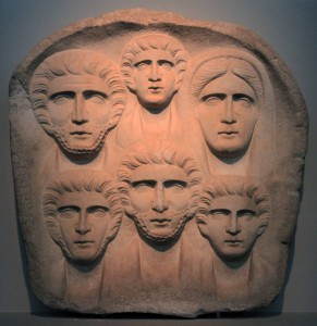 Funerary relief with six portraits, from the 2nd-century AD.