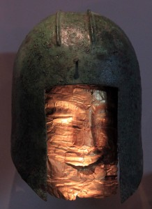 Helmet and mask that covered a deceased warrior when he was buried (circa 520 BC) - it kinda looks like Jack Palance.
