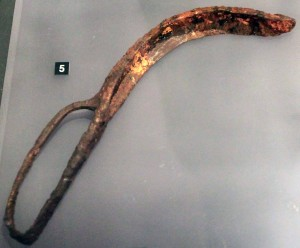 Iron strigil used by athletes for cleaning their bodies of dust and oil (325-300 BC).