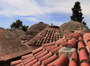 """The tiled roof of the Paradisos Baths (""""Bei Hamam"""")."""