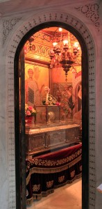 Looking inside the small shrine inside the church containing the remnants of St. Demetrius.