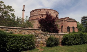 The Rotunda, which was built during the reign of Galerius Caesar (around 306 AD) as a temple; later it became a Christian basilica, then a mosque, and finally a Christian church again, before becoming an archaeological site.