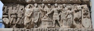 Relief on the Arch of Galerius depicting the imperial family at the sacrifice of thanksgiving.