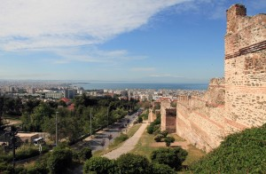 The Byzantine Wall in Thessaloniki, which dates to 390 AD (Mount Olympus can be seen in the distance, on the other side of the Thermaic Gulf).